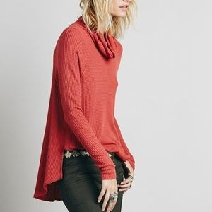 Free People waffle knit cowl neck long sleeve top